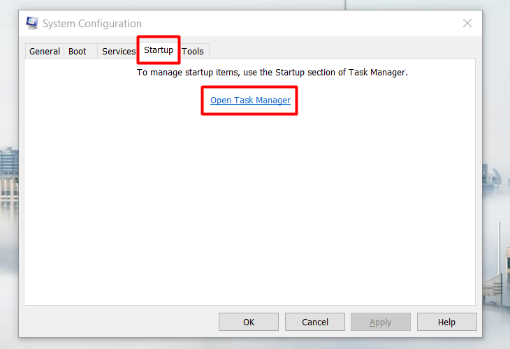 Chọn Open Task Manager